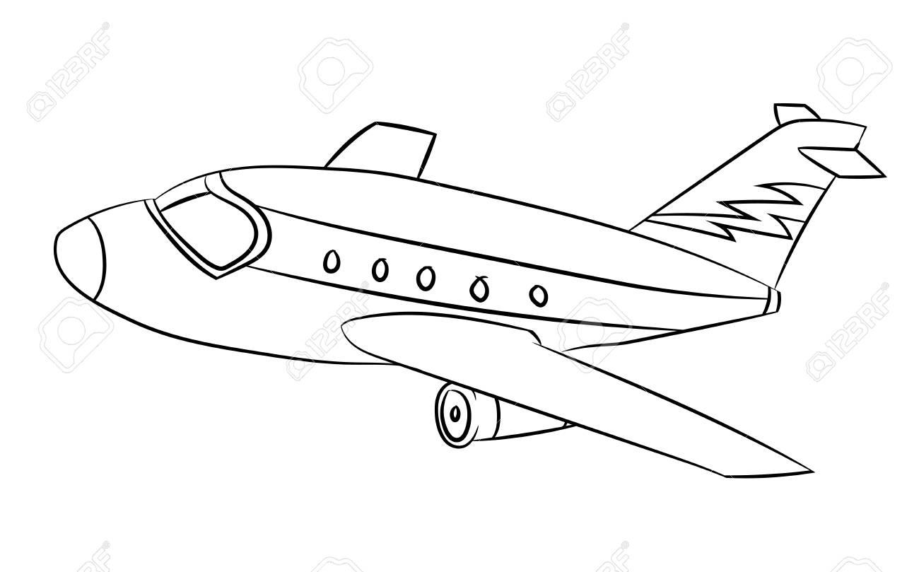 Avión Blanco Y Negro De Dibujos Animados Vector Ilustración Para Colorear Libro Line Drawn Vector