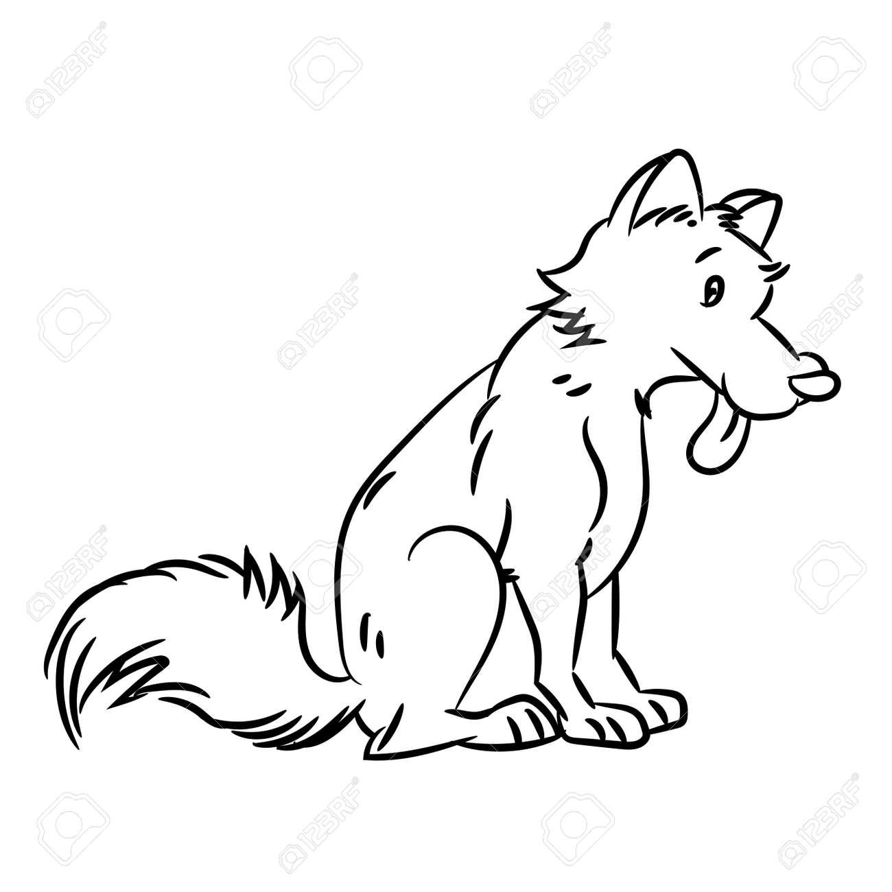 Bosquejo Dibujado Mano De Perro Aislado Blanco Y Negro Ilustración De Vector De Dibujos Animados Para Libro De Colorear Vector Dibujado