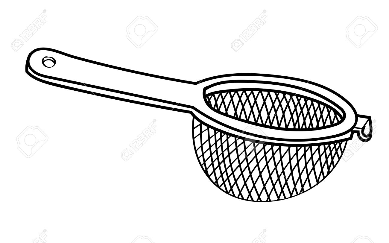 Hand drawn sketch of Sieve isolated, Black and White Cartoon Vector Illustration for Coloring Book - Line Drawn Vector - 80956533