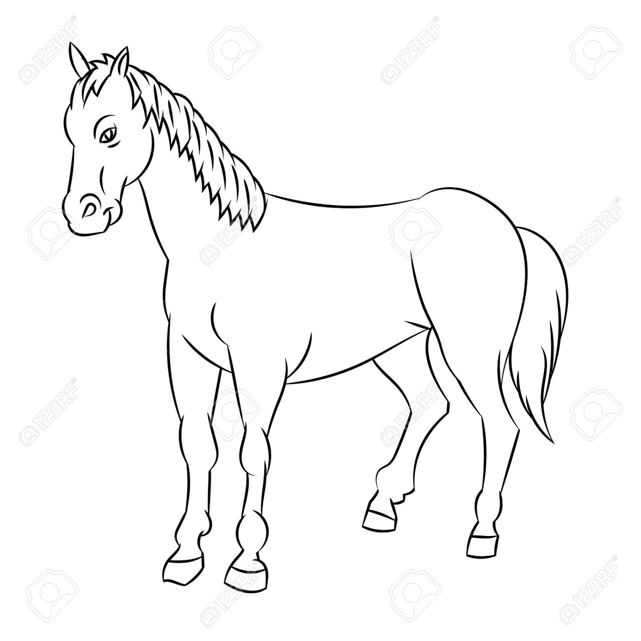 Hand Drawn Sketch Of Horse Isolated Black And White Cartoon Vector Illustration For Coloring Book