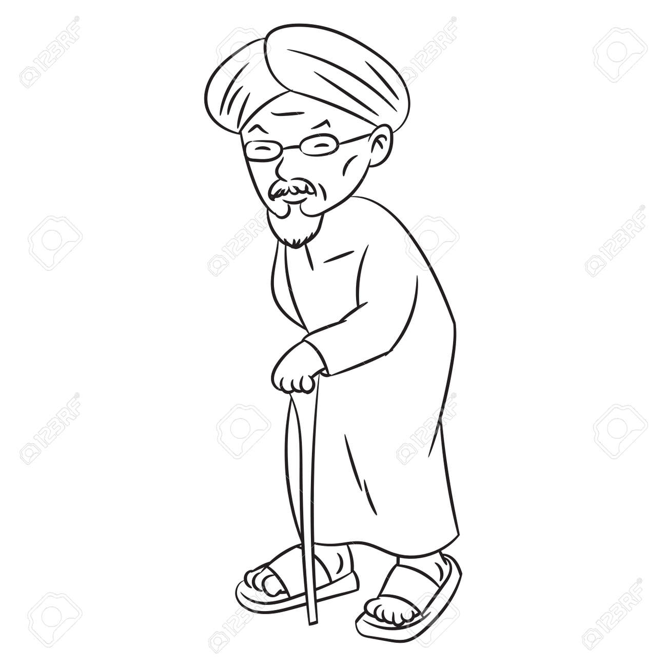 Dibujado A Mano Dibujo De Malay Grandfather Carácter De Dibujos ...