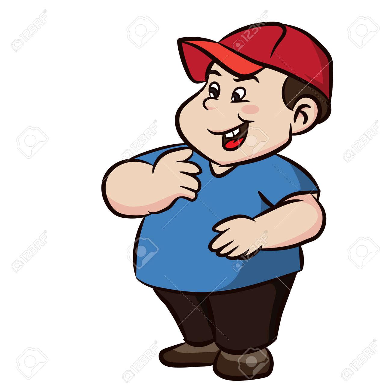 Garcon Colore Cartoon Fat Avec Sourire Sur Fond Blanc Illustration Vectorielle Clipart Clip Art Libres De Droits Vecteurs Et Illustration Image 82518477