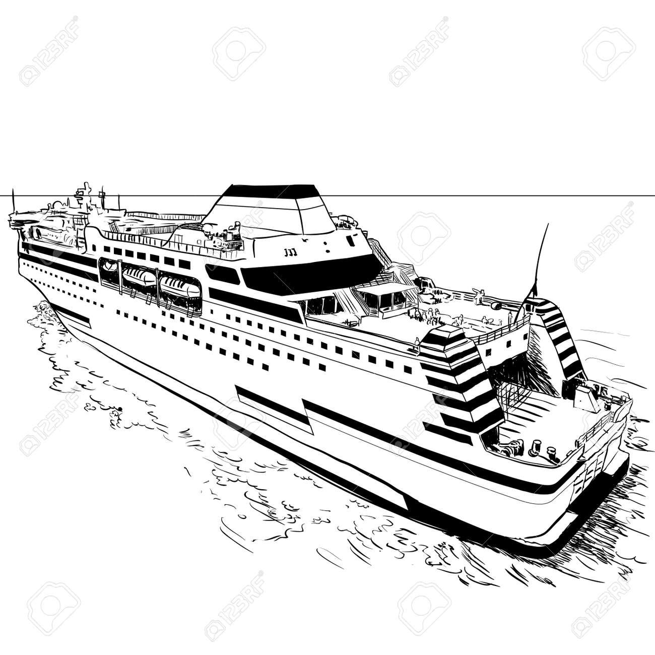 Bosquejo Dibujado Mano Del Transbordador, Blanco Y Negro Línea ...