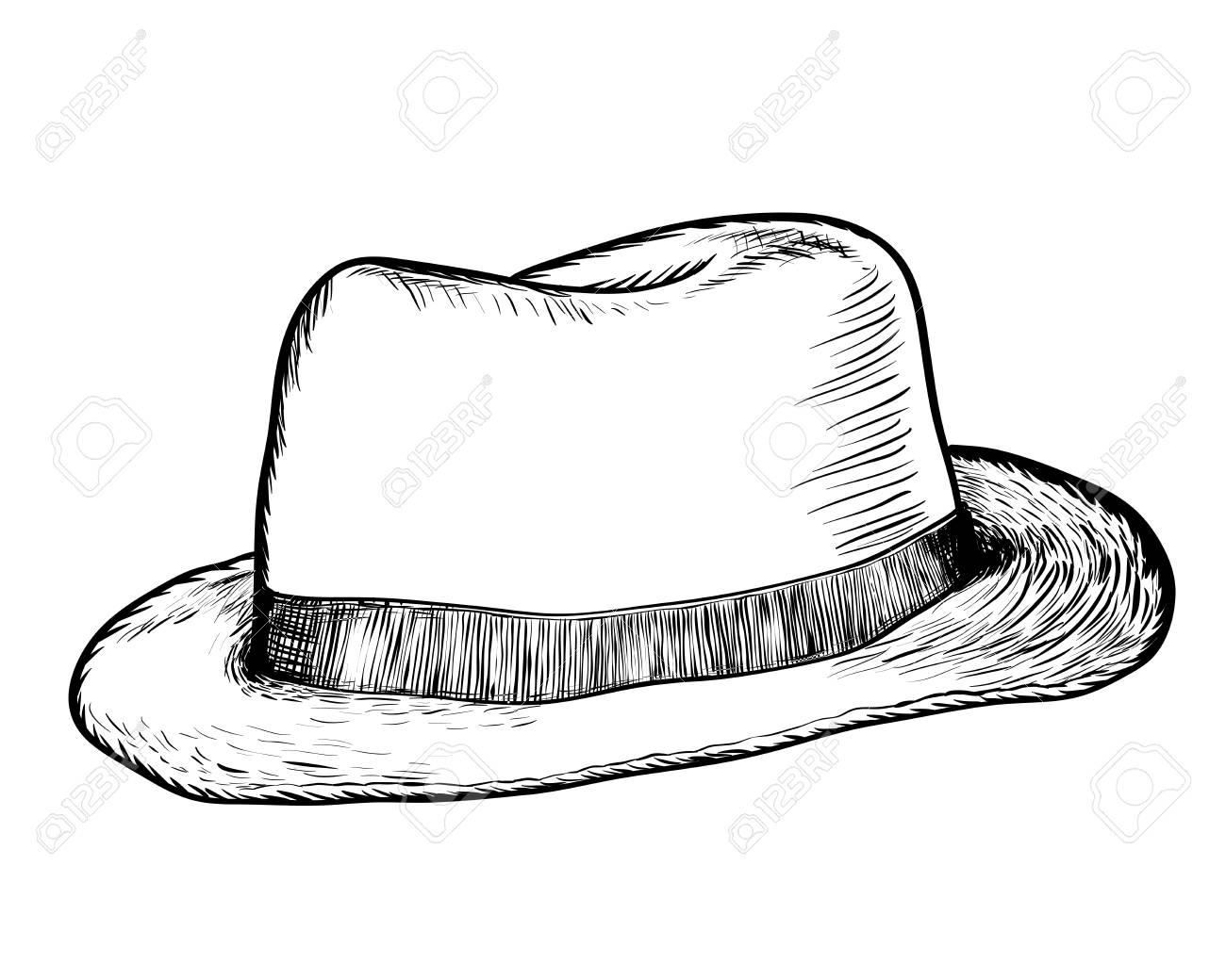 Dibujo a mano sombrero de vaquero. Ilustración de Vector de línea simple  blanco y negro 3d2db75d227