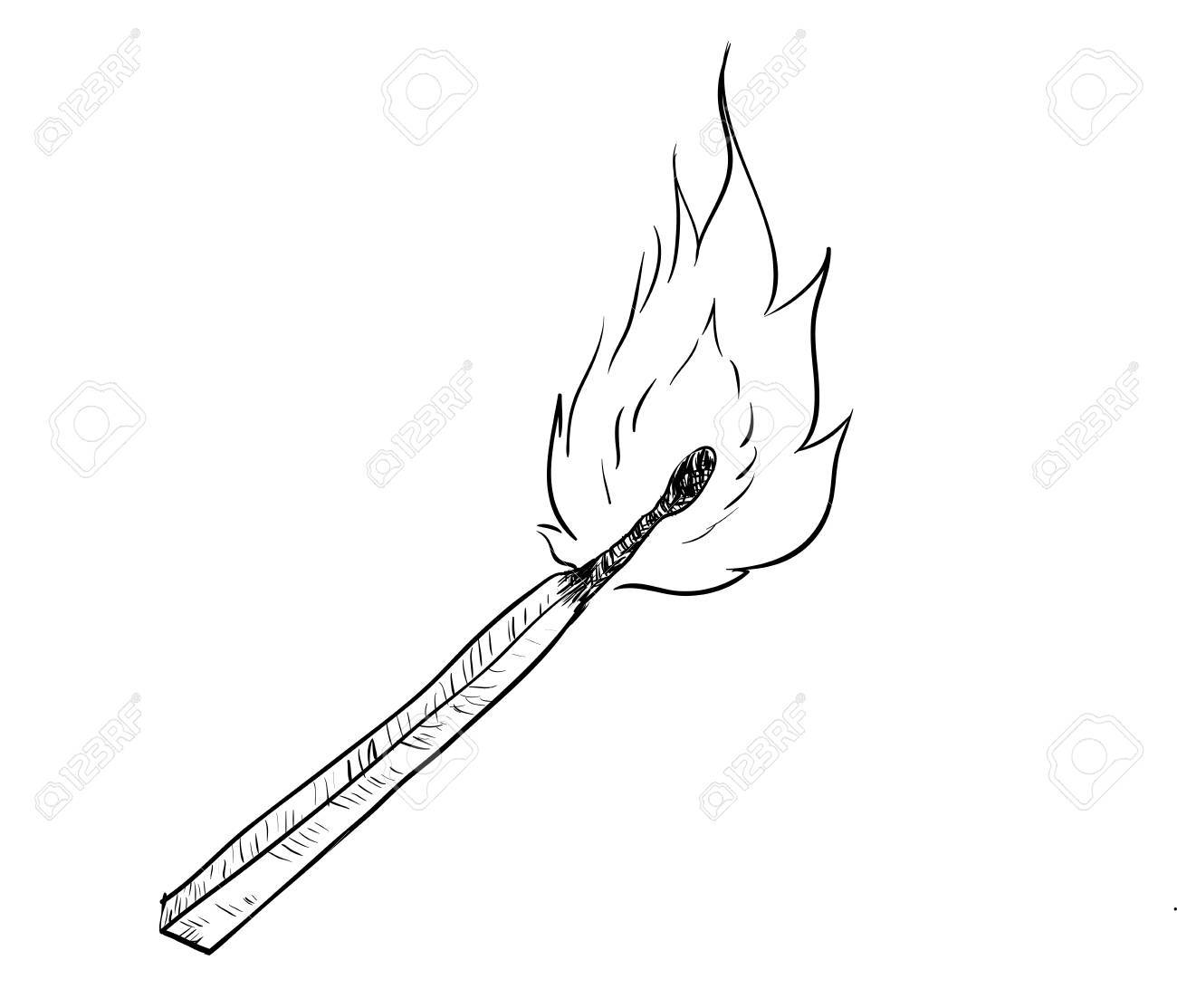 Hand drawing of fire burning match black and white simple line vector illustration for coloring