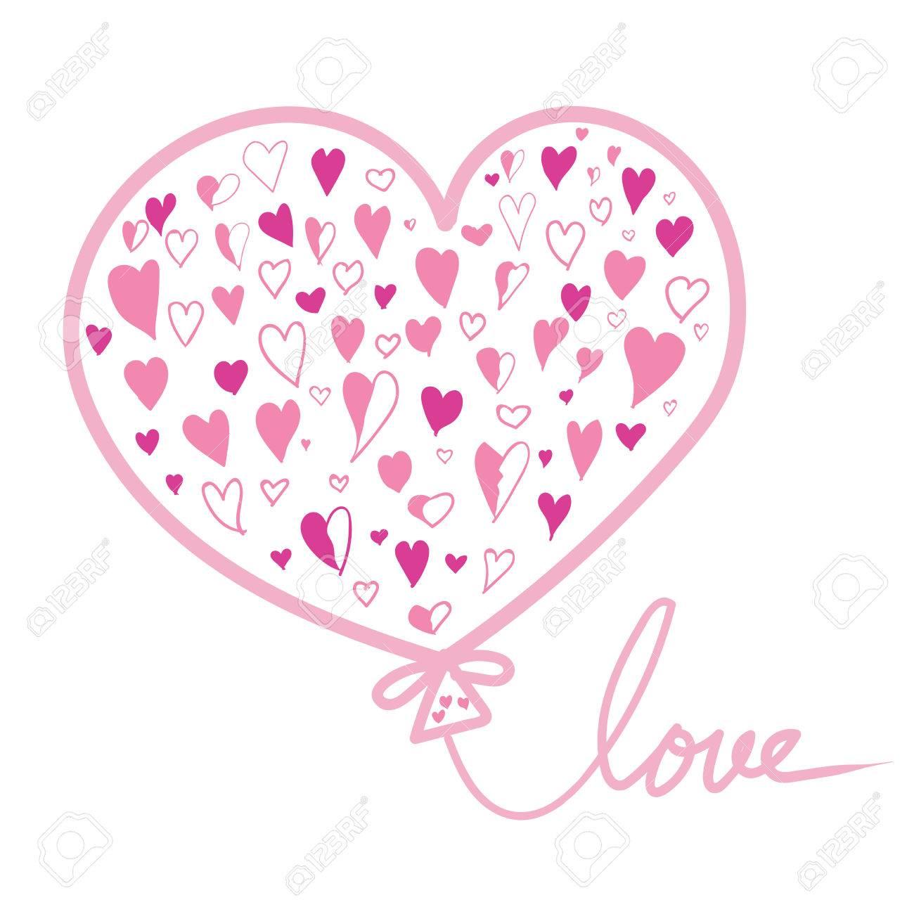 Main Dessin De Ballons Roses De La Saint Valentin Avec Texte Amour