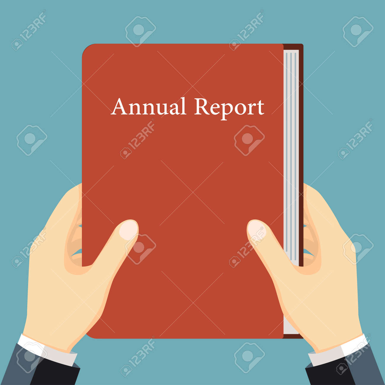 Businessmen Holding Book, Annual Report In Hand, Financial Analysis ...