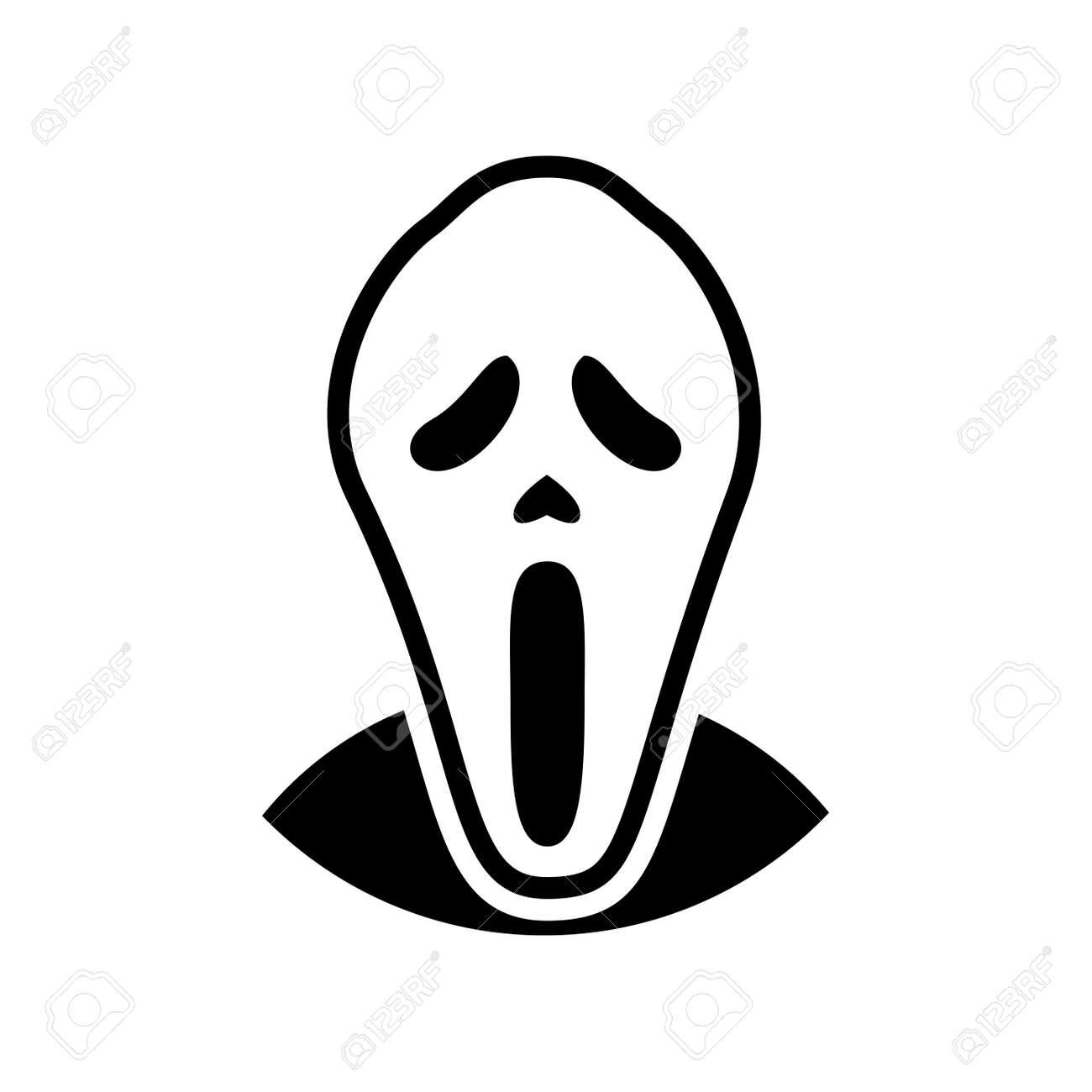 Icono De La Máscara De Terror Blanco, Símbolo Icónico En El Fondo ...