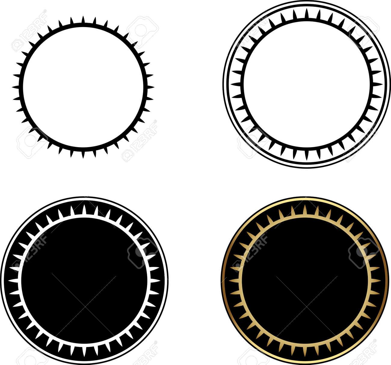 Set Of Circle Frames, Round Frame, Gold Circle Frame-vector ...