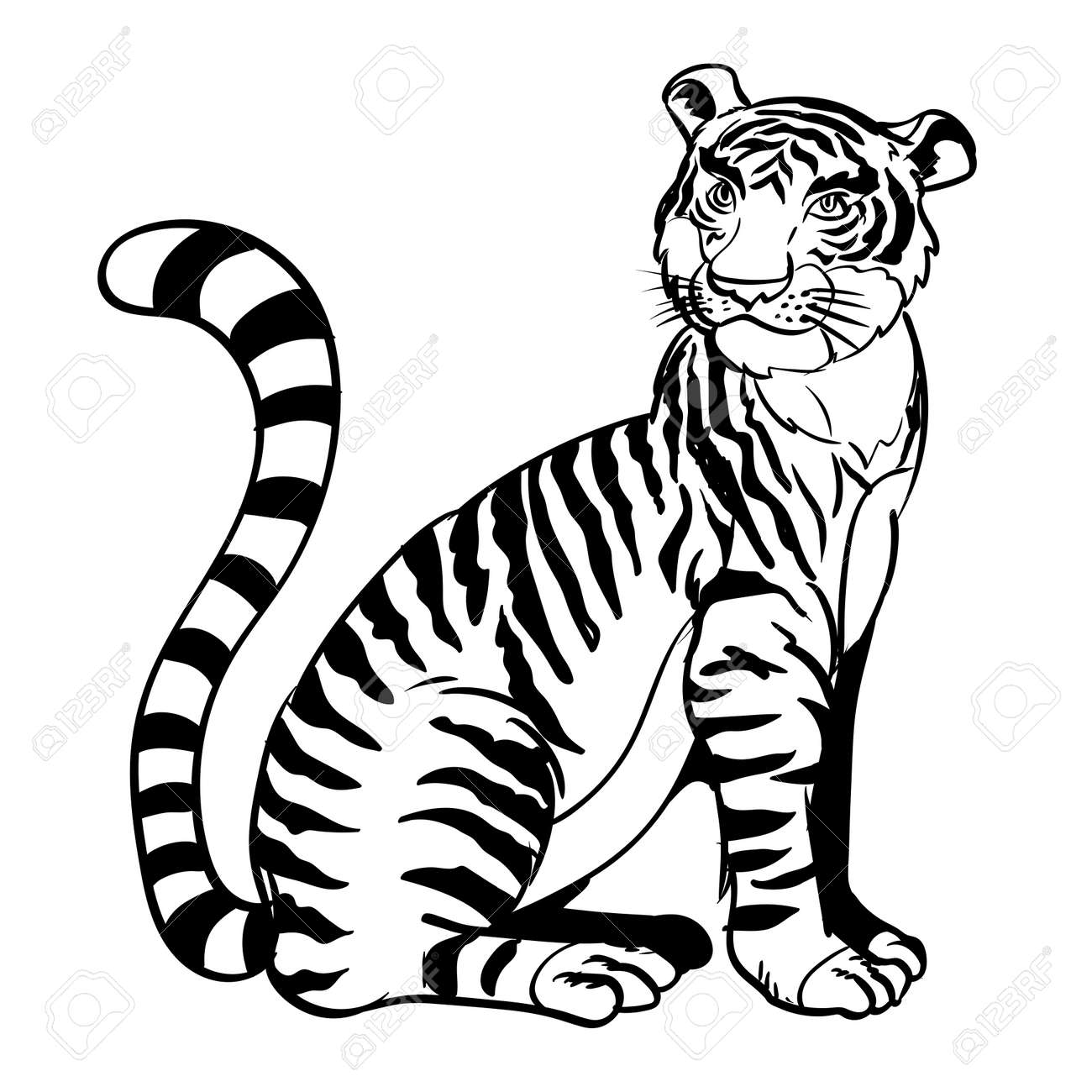 Line Drawing Cartoon A Sitting Tiger In Black And White Color