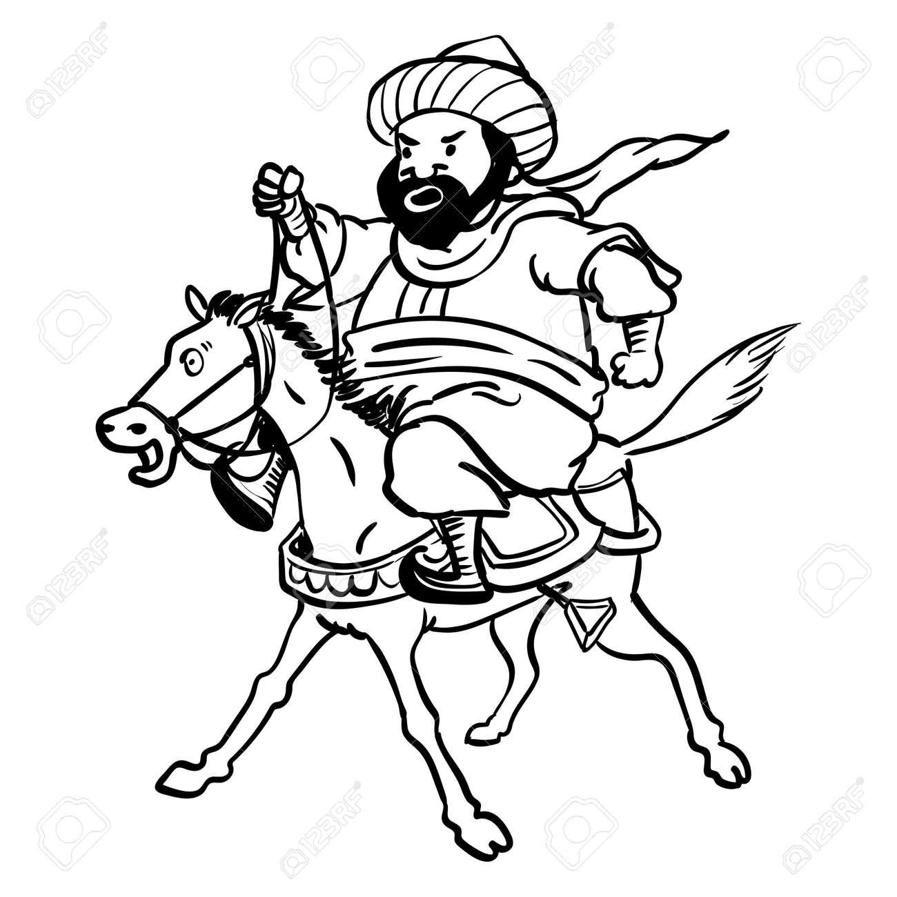 Hombre Gordo árabe De Dibujos Animados Montando Un Caballo Cansado Para Colorear Dibujado A Mano Ilustración Vectorial