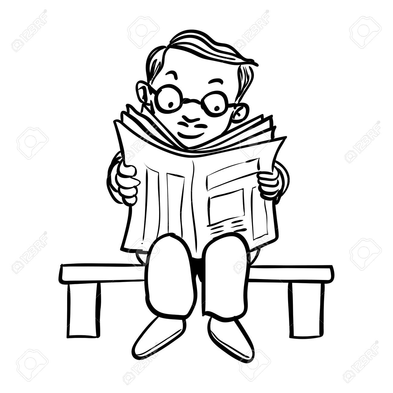 hand drawing of cartoon man wear glasses read news paper on bench
