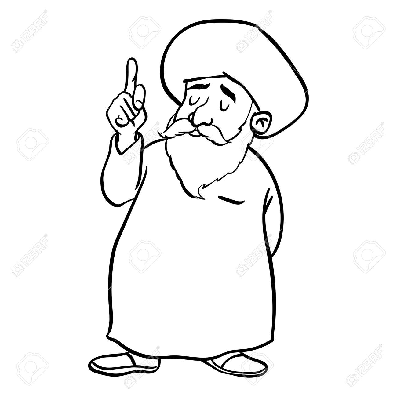 Hand Drawing Of Cartoon Muslim Old Man Standing Pointer Finger Up Isolated On White