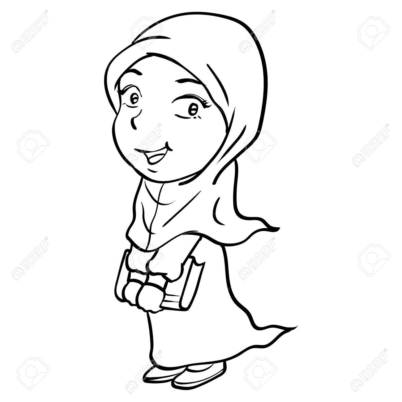 Main Dessin De Dessin Anime Smiley Fille Musulmane Tenant Le Livre Isole Sur Fond Blanc Ligne Simple Noir Et Blanc Illustration Vectorielle Pour