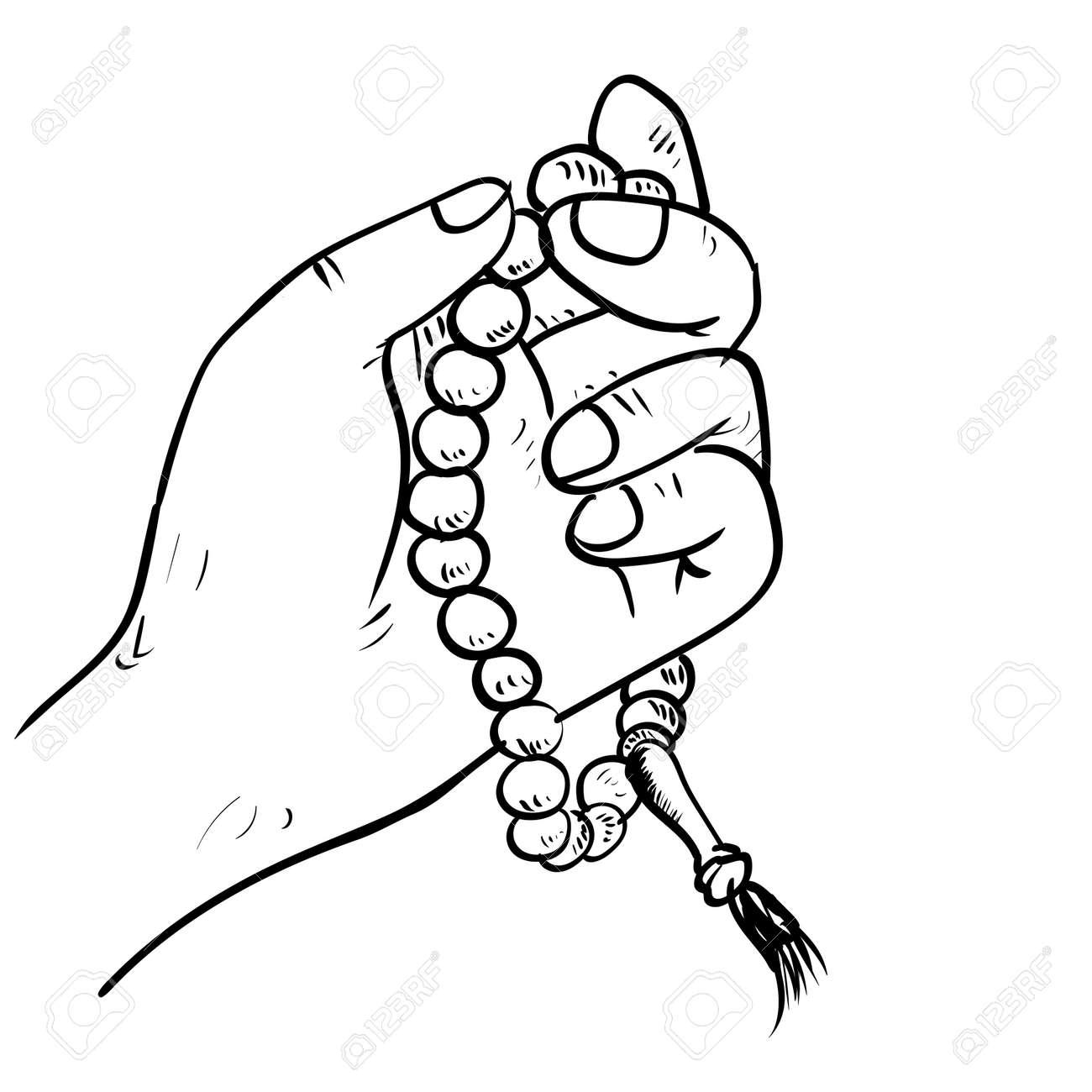 Mano Dibujada Mano Sosteniendo Cuentas De Oración Islámica En Estilo ...