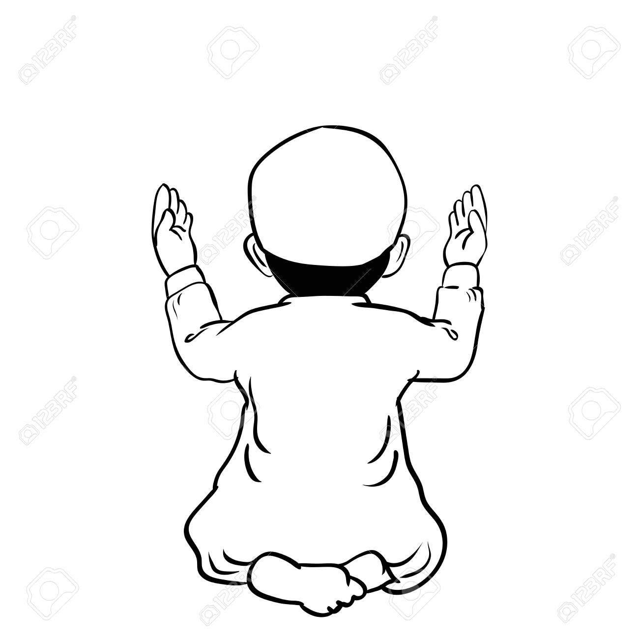 Dibujado A Mano Muchacho Musulmán Tiene Un Tiempo De Orar Con Las ...