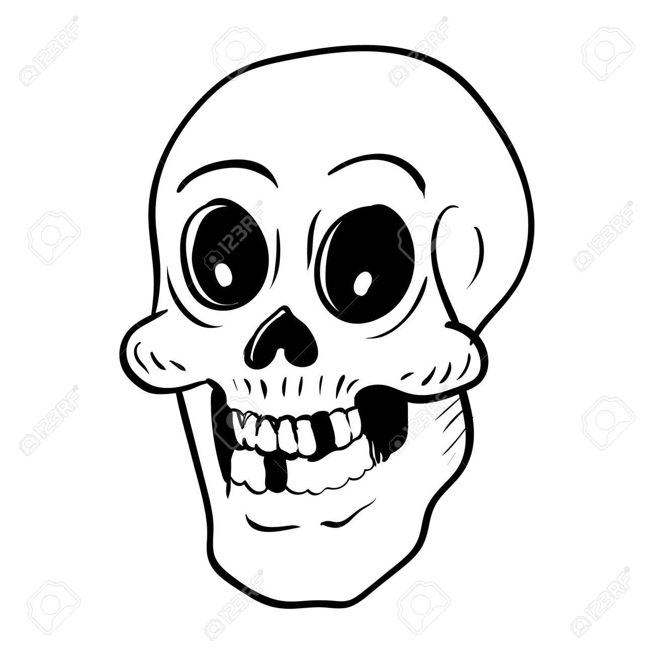 Main Dessin Tête De Mort Cartoon Pour Le Concept De Halloween Isolé Sur Fond Blanc Vector Illustration