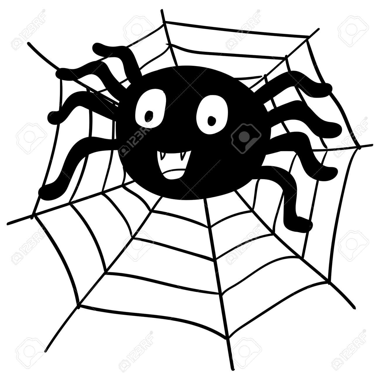 Main Dessin Toile D Araignée Et Web Pour Le Concept De Halloween Isolé Sur Fond Blanc Vector Illustration