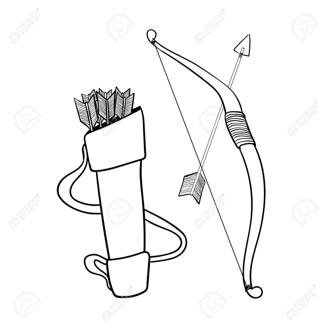 Dibujado A Mano Flechas Arco Y Caja, Aislado Sobre Fondo Blanco ...