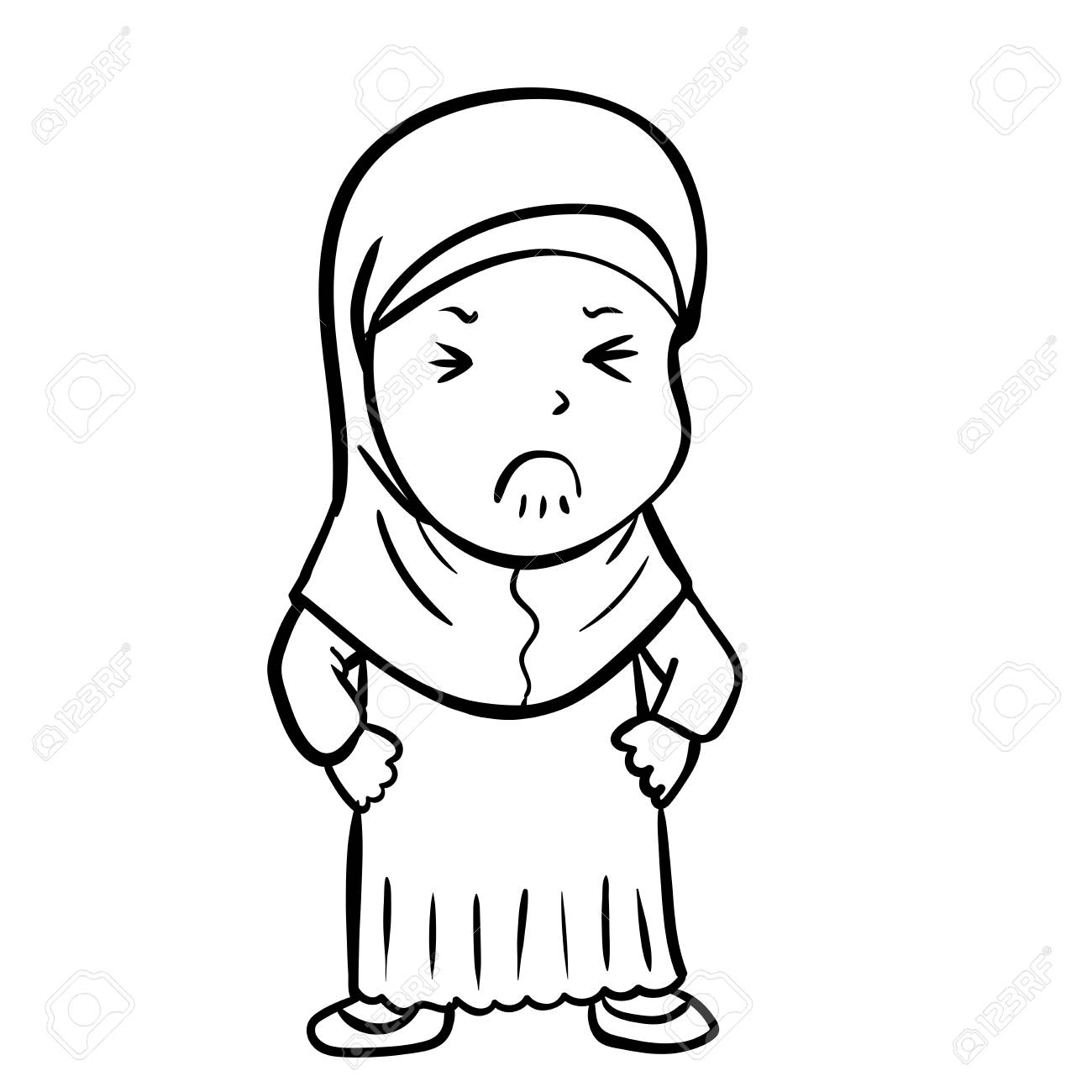 Dessin Dessin Anime De Fille Musulmane Frustree Isole Sur Fond