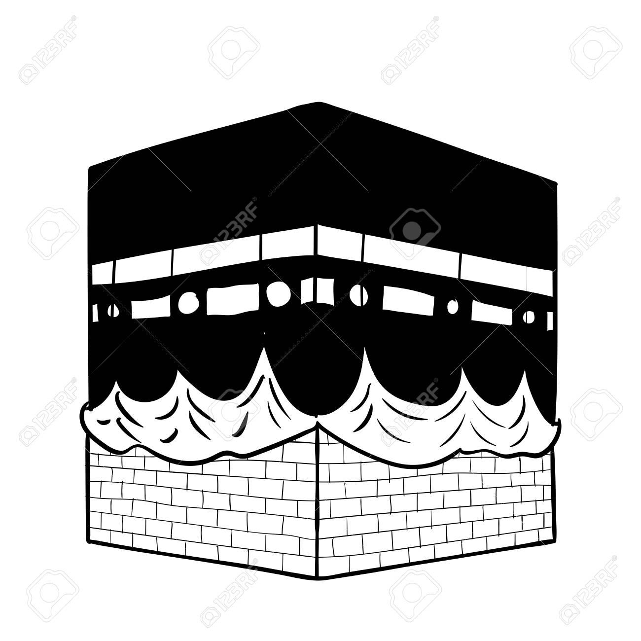 Dibujo A Mano Kaaba De La Meca, Aislado Sobre Fondo Blanco. Línea ...