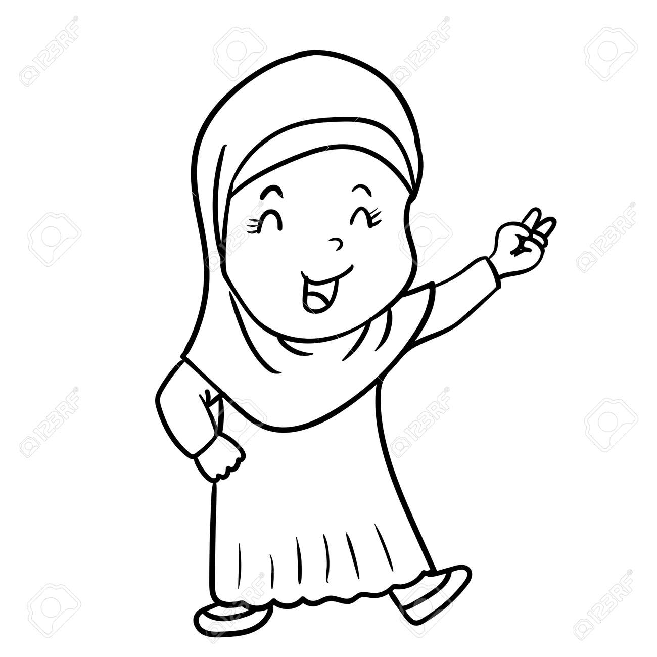 Hand drawing muslim girl cartoon with victory sign isolated on white background black and