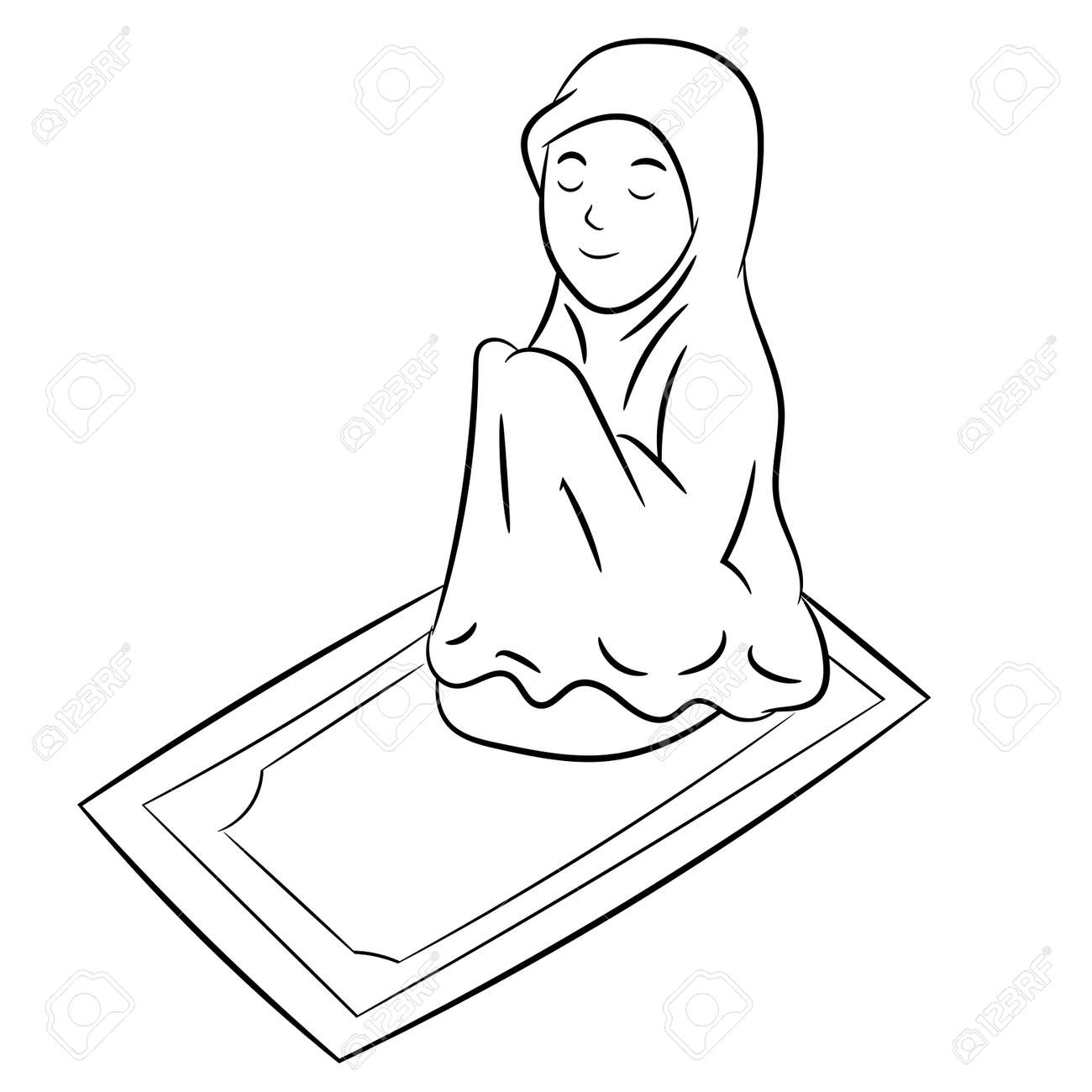 Muslim Girl Praying Isolated On White Background Black And White