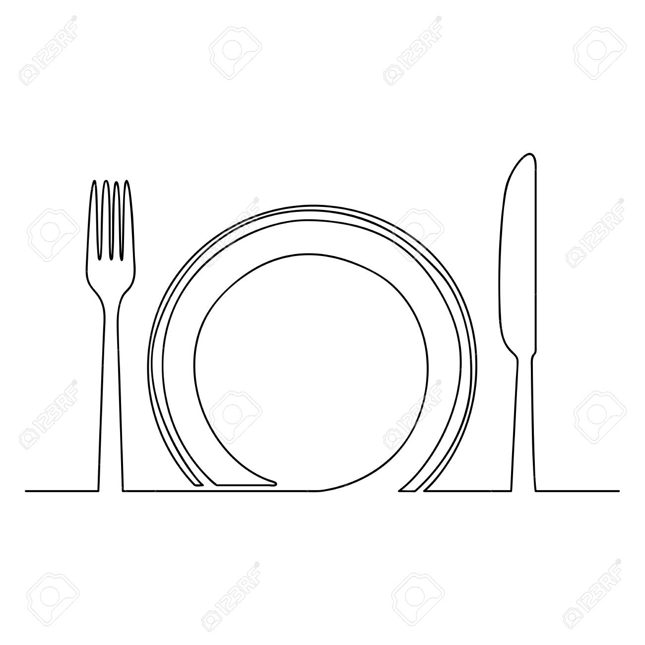 Empty Plate Fork And Knife One Line Drawing Isolated On White