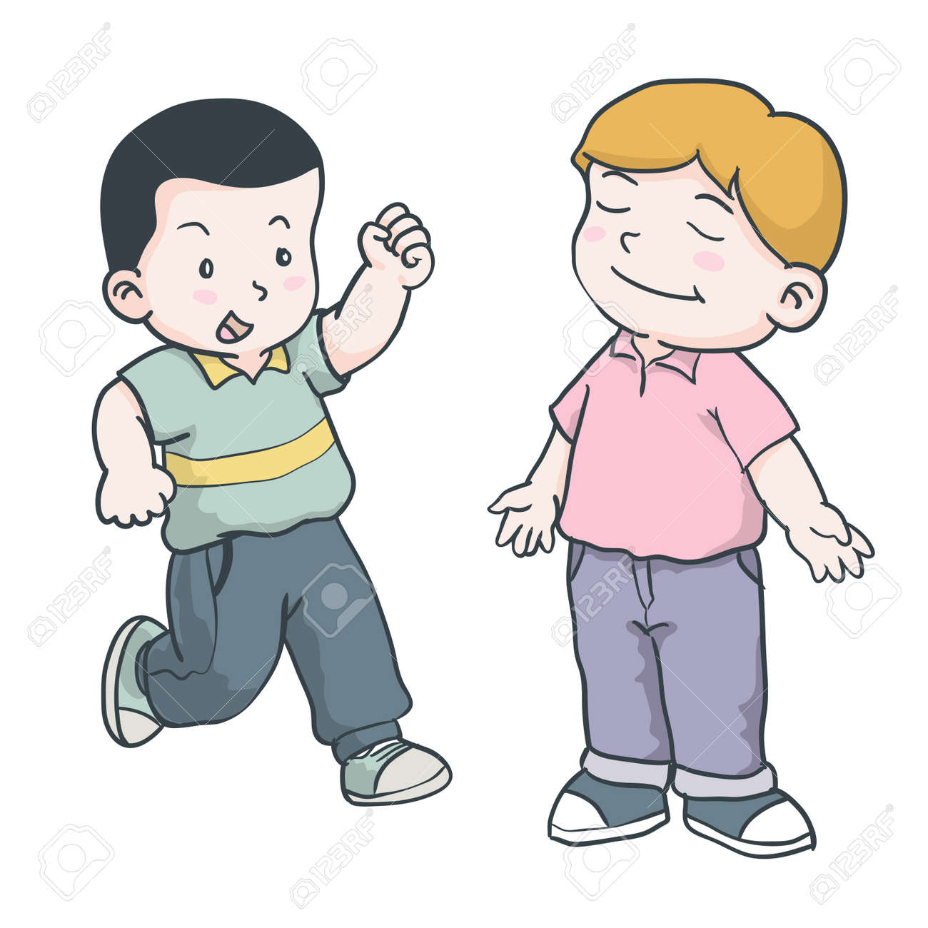 Hand drawing of illustration of young boys is running and standing with smile facial on a