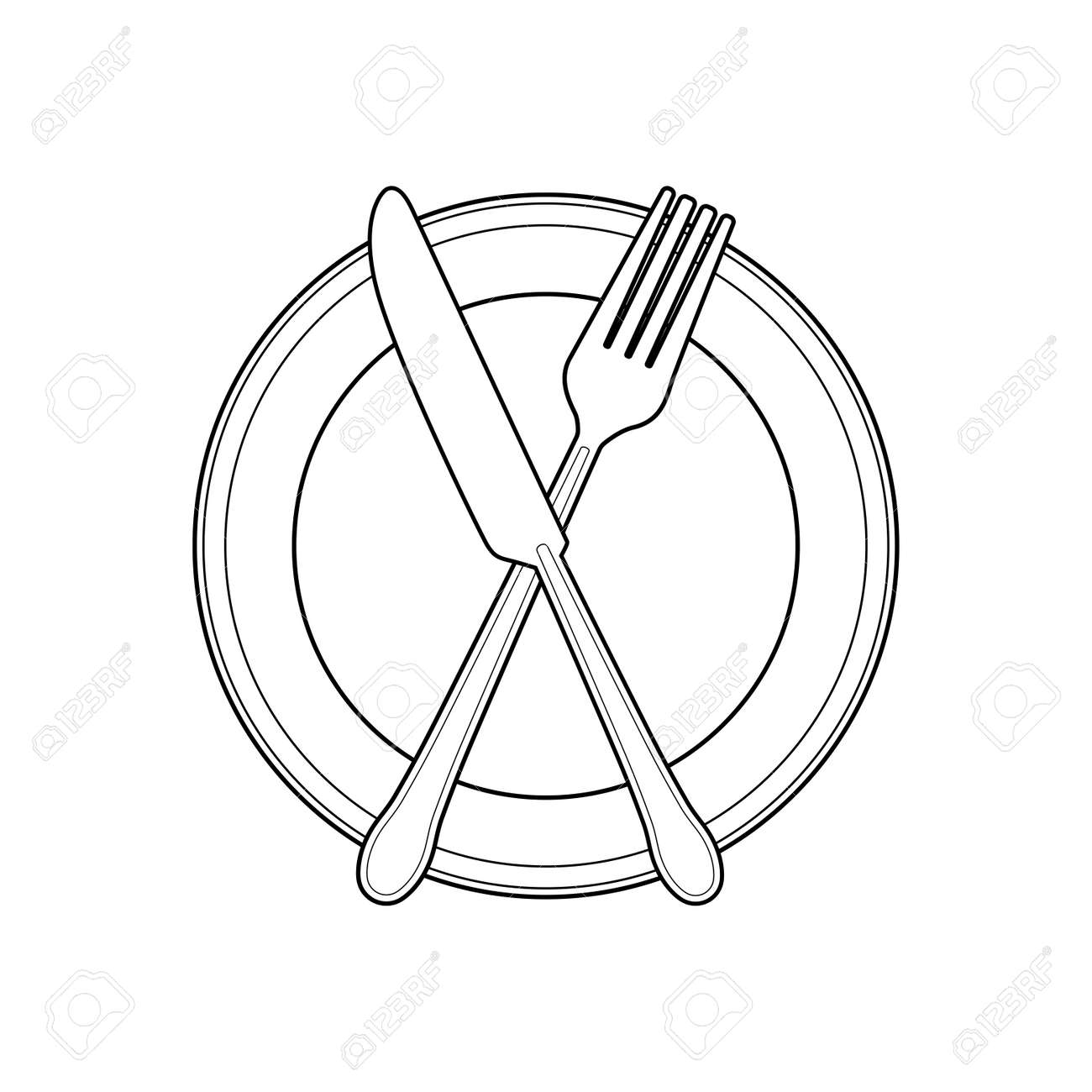 Empty Plate With Knife And Fork On A White Background Linear