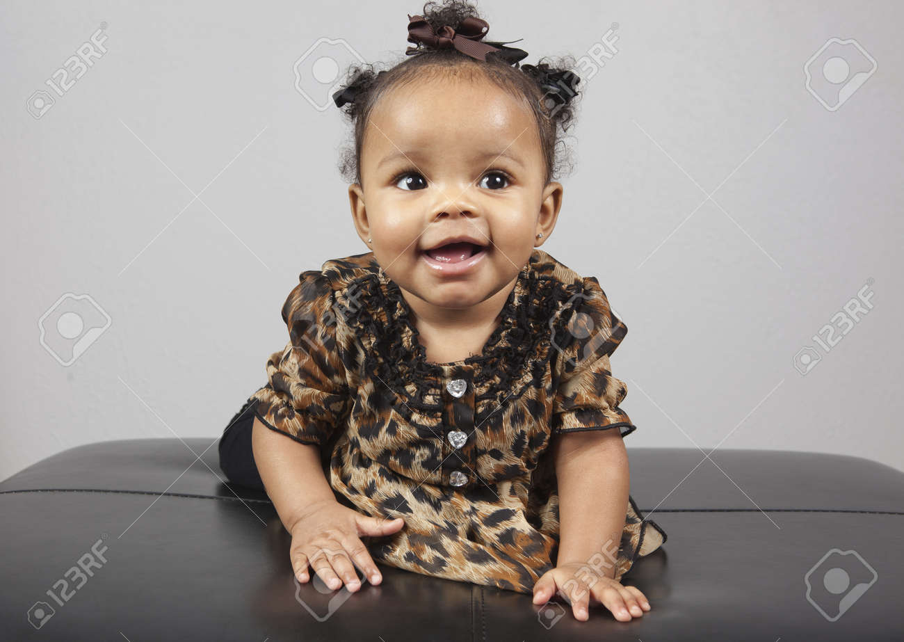 e9ac1ffe368c Portrait Of Beautiful 6 Month Old African American Baby Stock Photo ...
