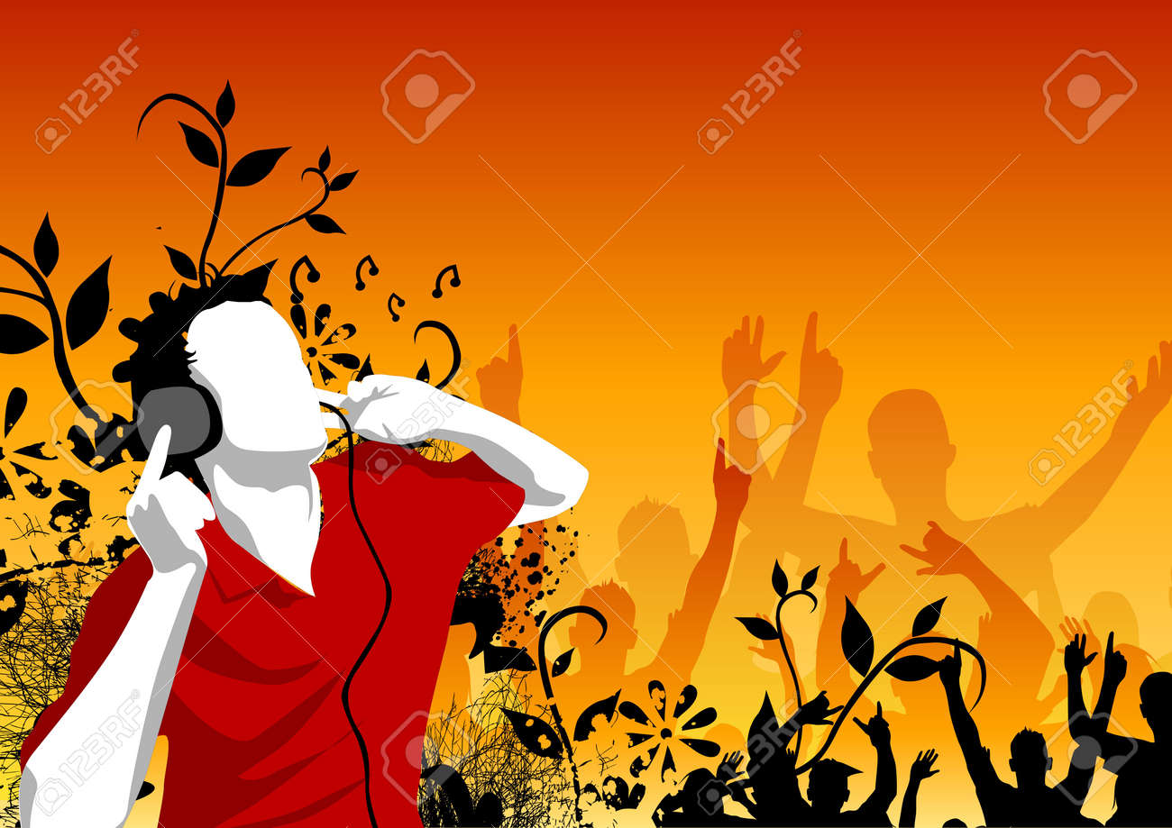 Man listening to music with crowds in the background Stock Photo - 723130