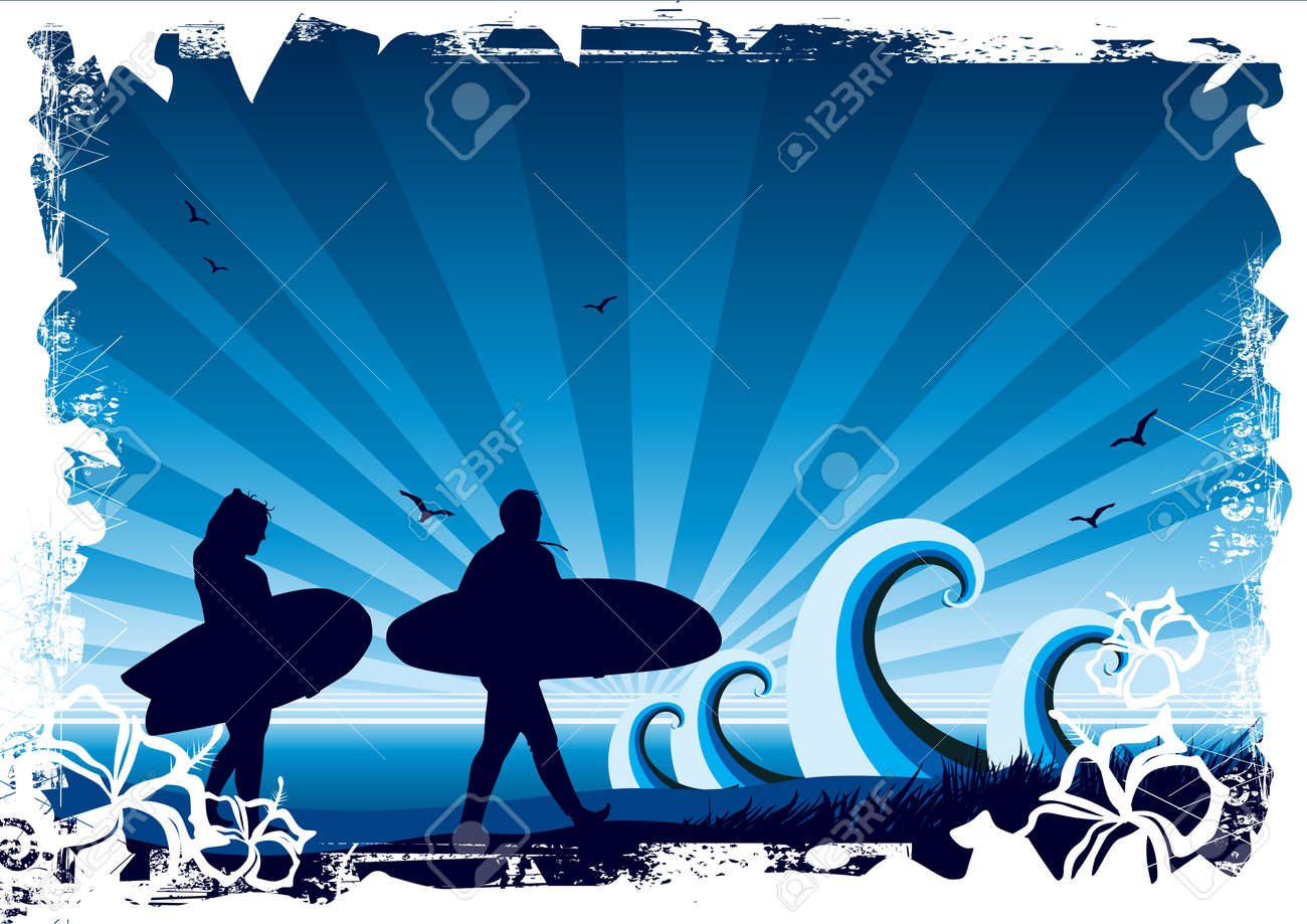 Surf background with floral elements Stock Photo - 1397497
