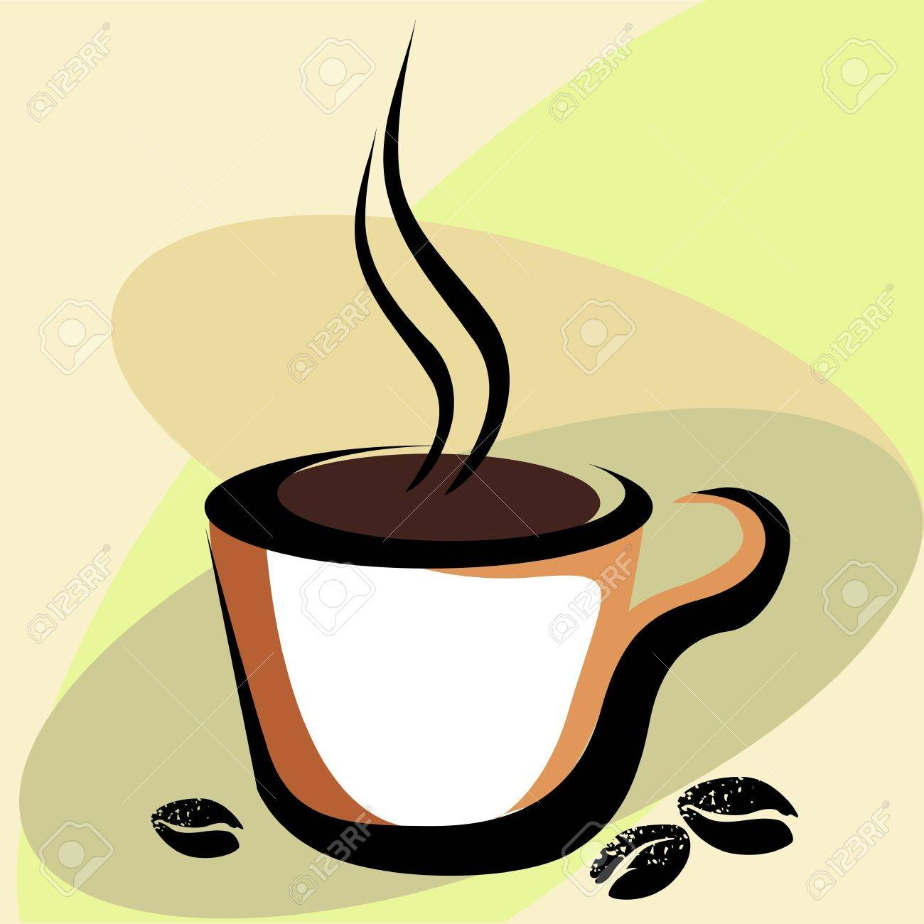 Vector Coffee cup and coffee beans Stock Photo - 2835707