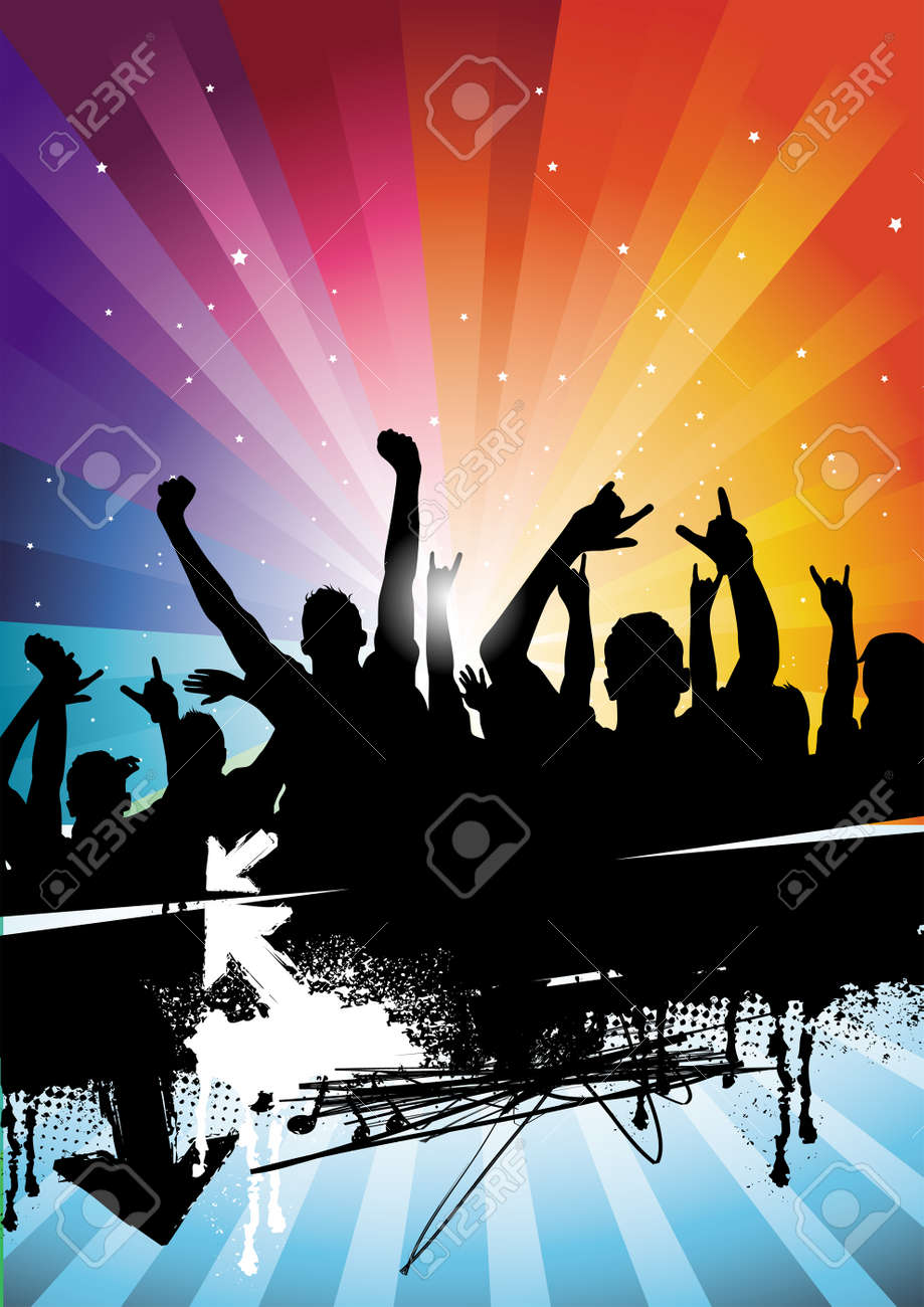 People enjoying them selves at a concert! All elements are individual objects and no flattened transparencies. Stock Vector - 3461903