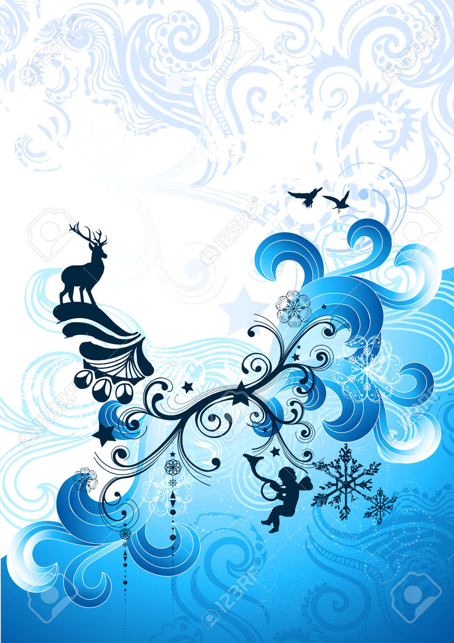 Christmas winter elements with flowing swirls. Vector illustration. Stock Vector - 3951692