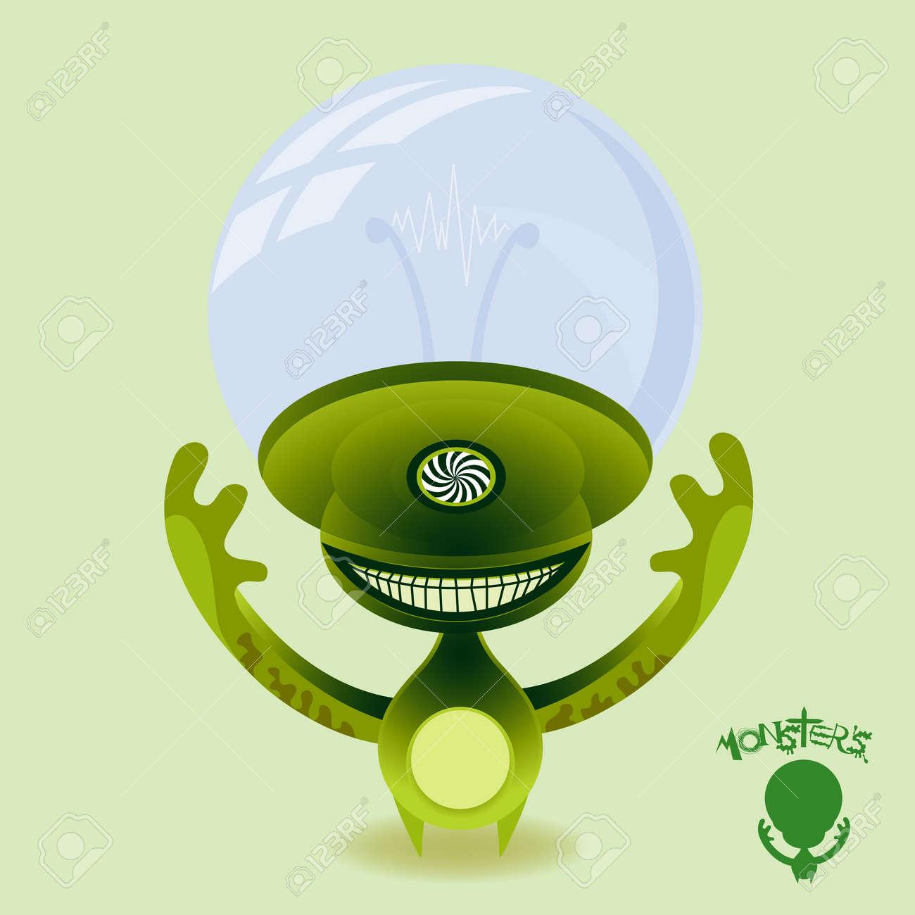 Hypnotic green power hungry alien. Beware! Stock Photo - 4812745