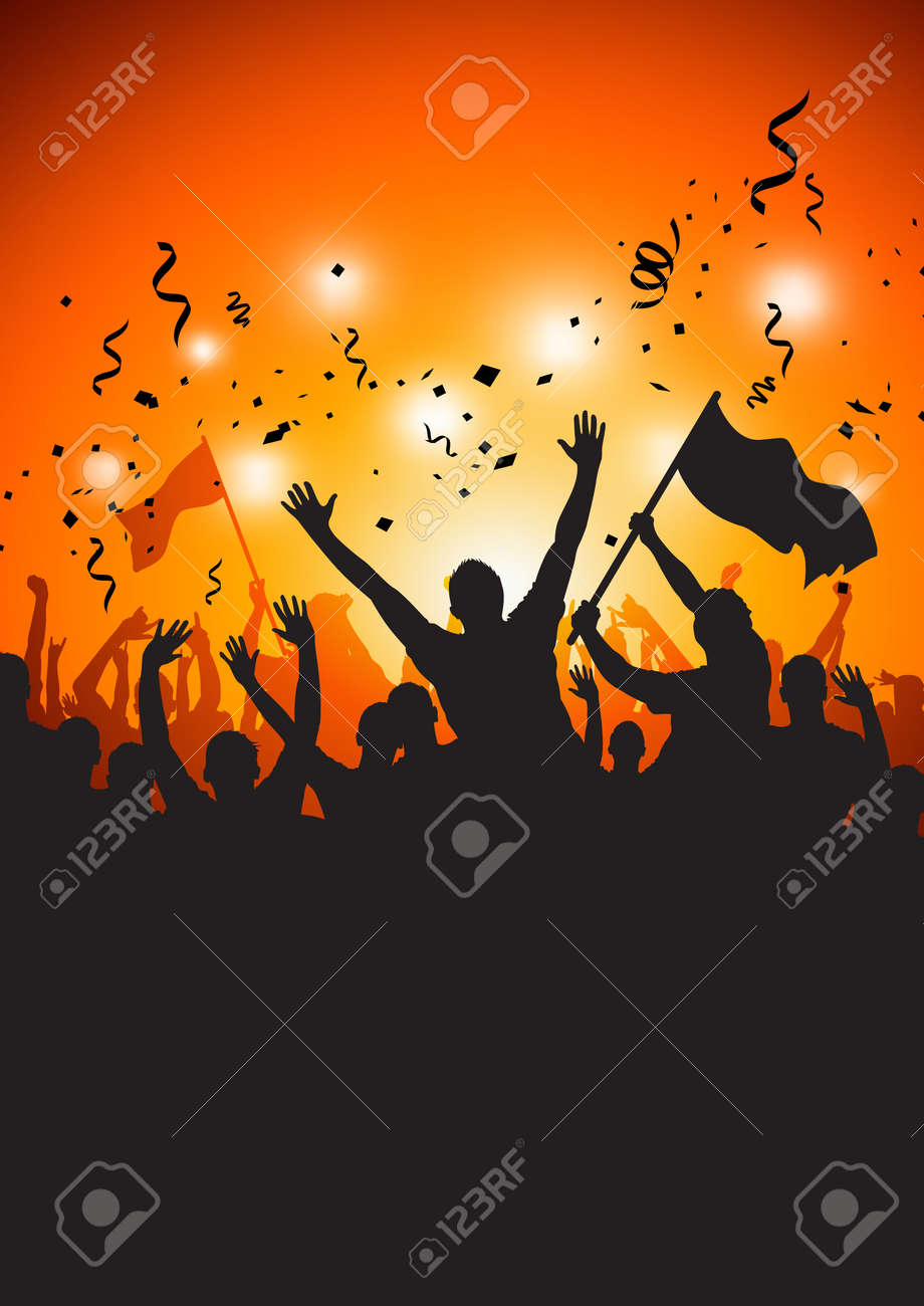 A happy crowd at a concert or stadium. Stock Vector - 7113326