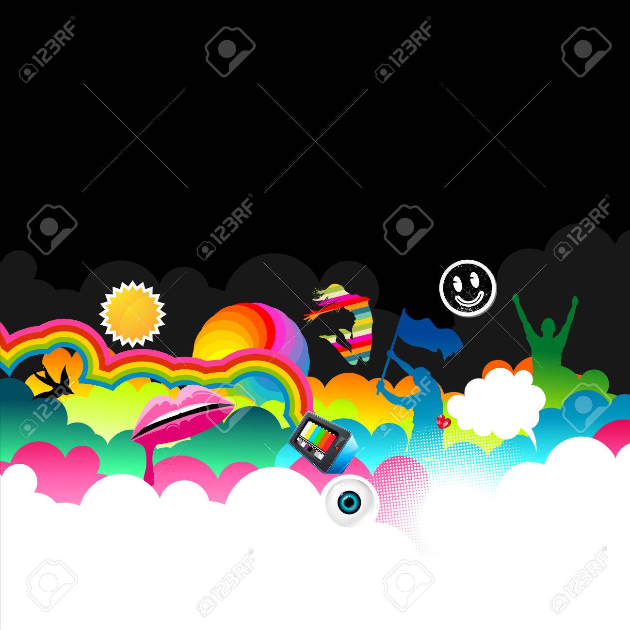 A bright and colourful background strip with people and lips! Stock Vector - 7113325