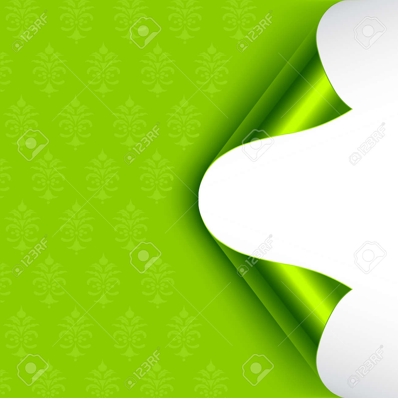 Green foiled backed curled corners. Stock Vector - 7241697