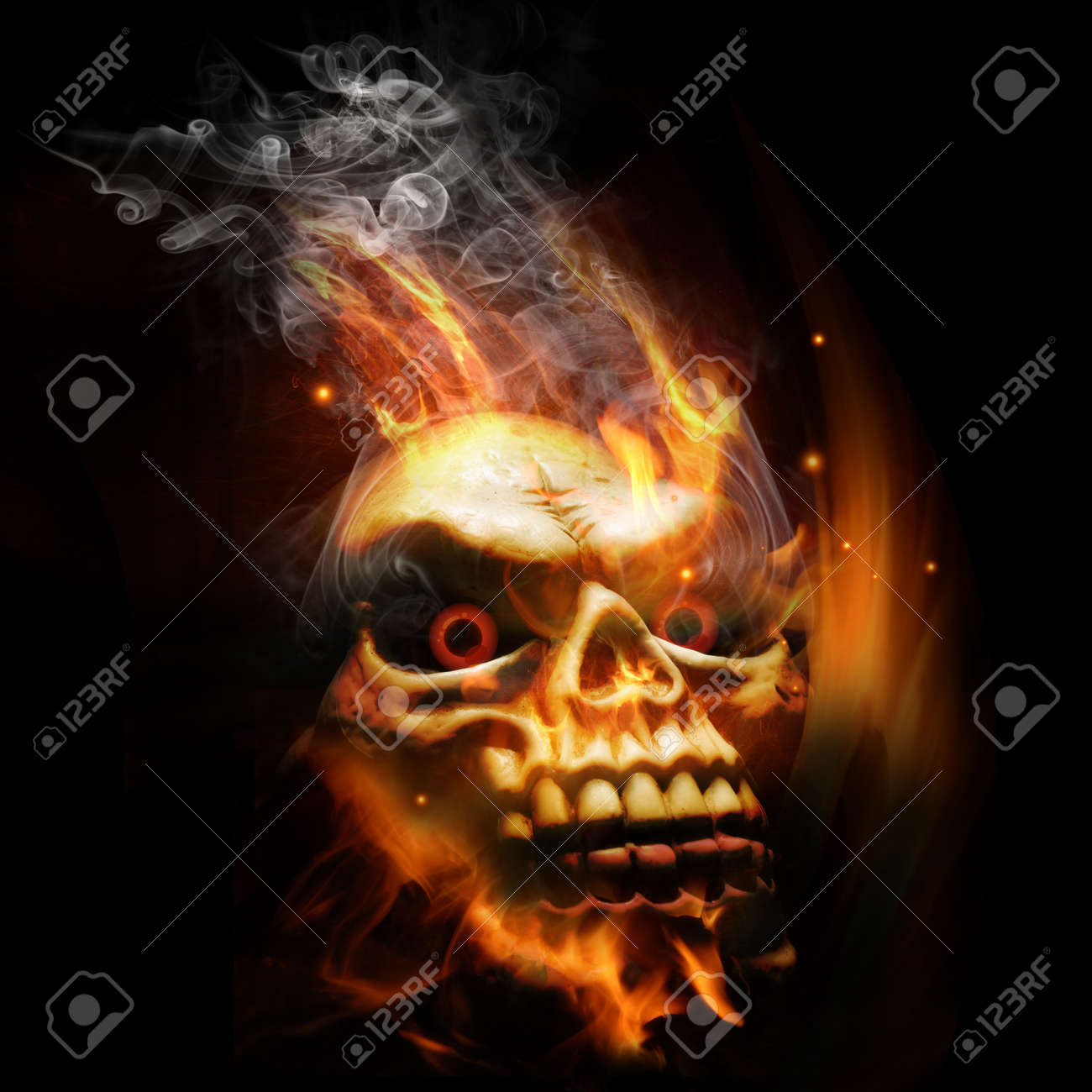 A burning skull with red eyes. Stock Photo - 8010952