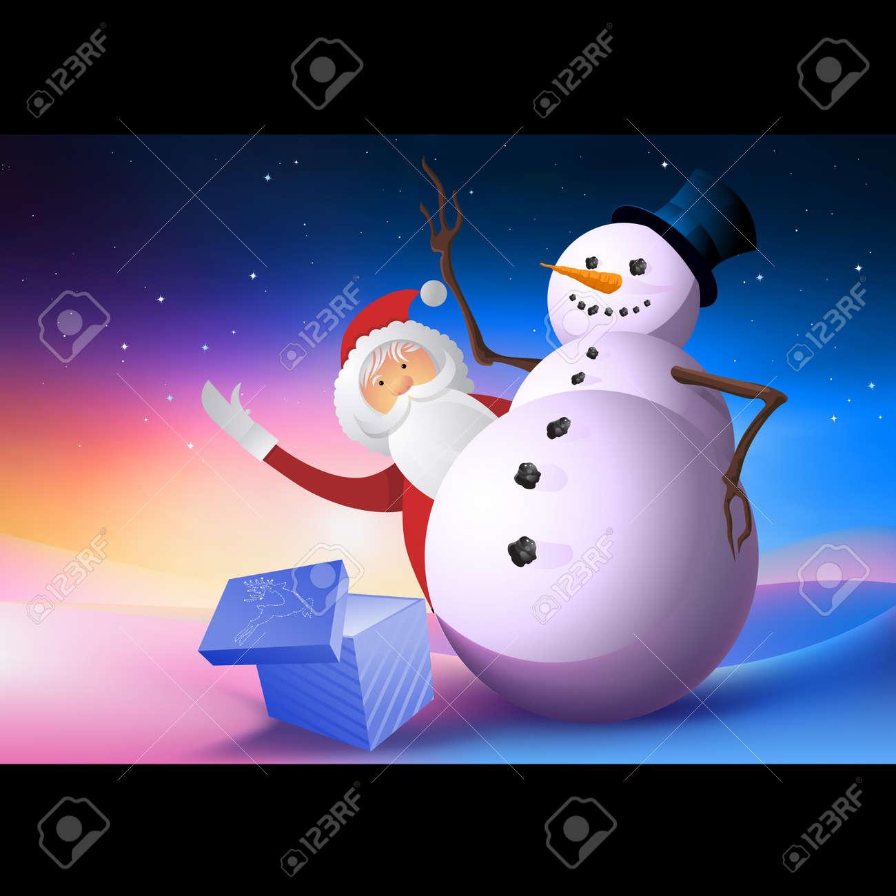 A snowman with Santa waving. Stock Photo - 8266609