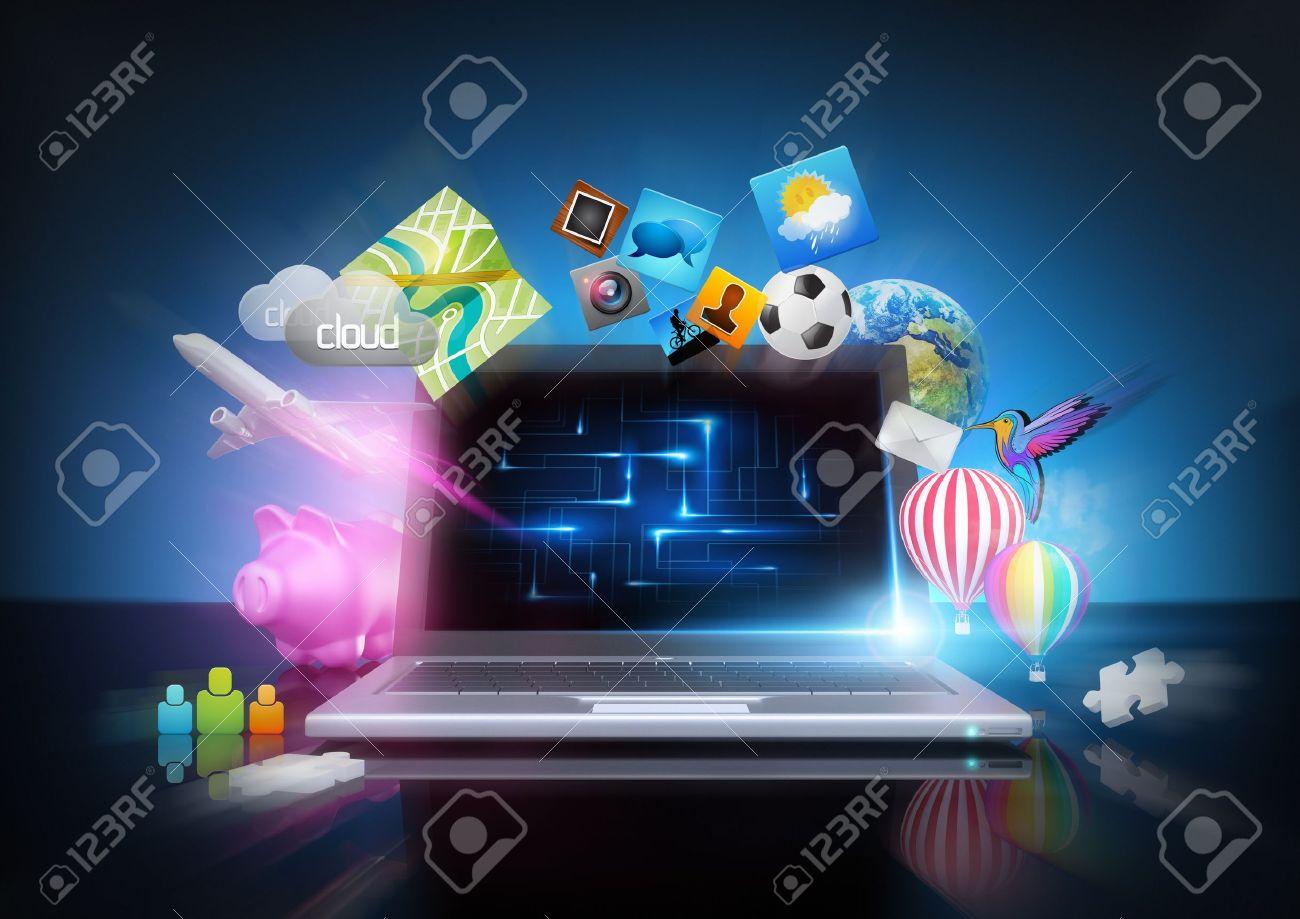 Modern Technology - media notebook concept Stock Photo - 14488010
