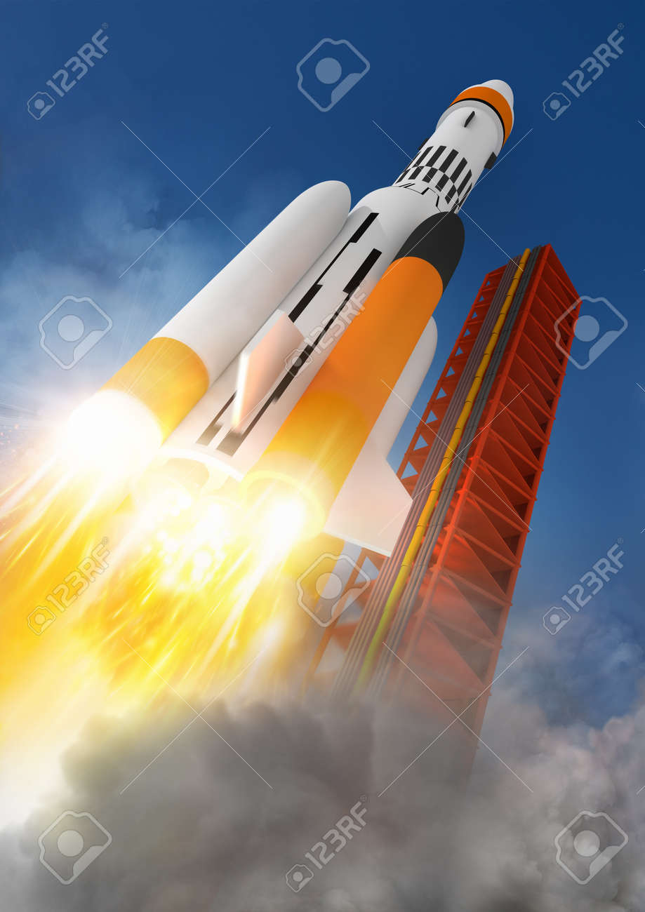 Blast Off A rocket launching into space - 14488000