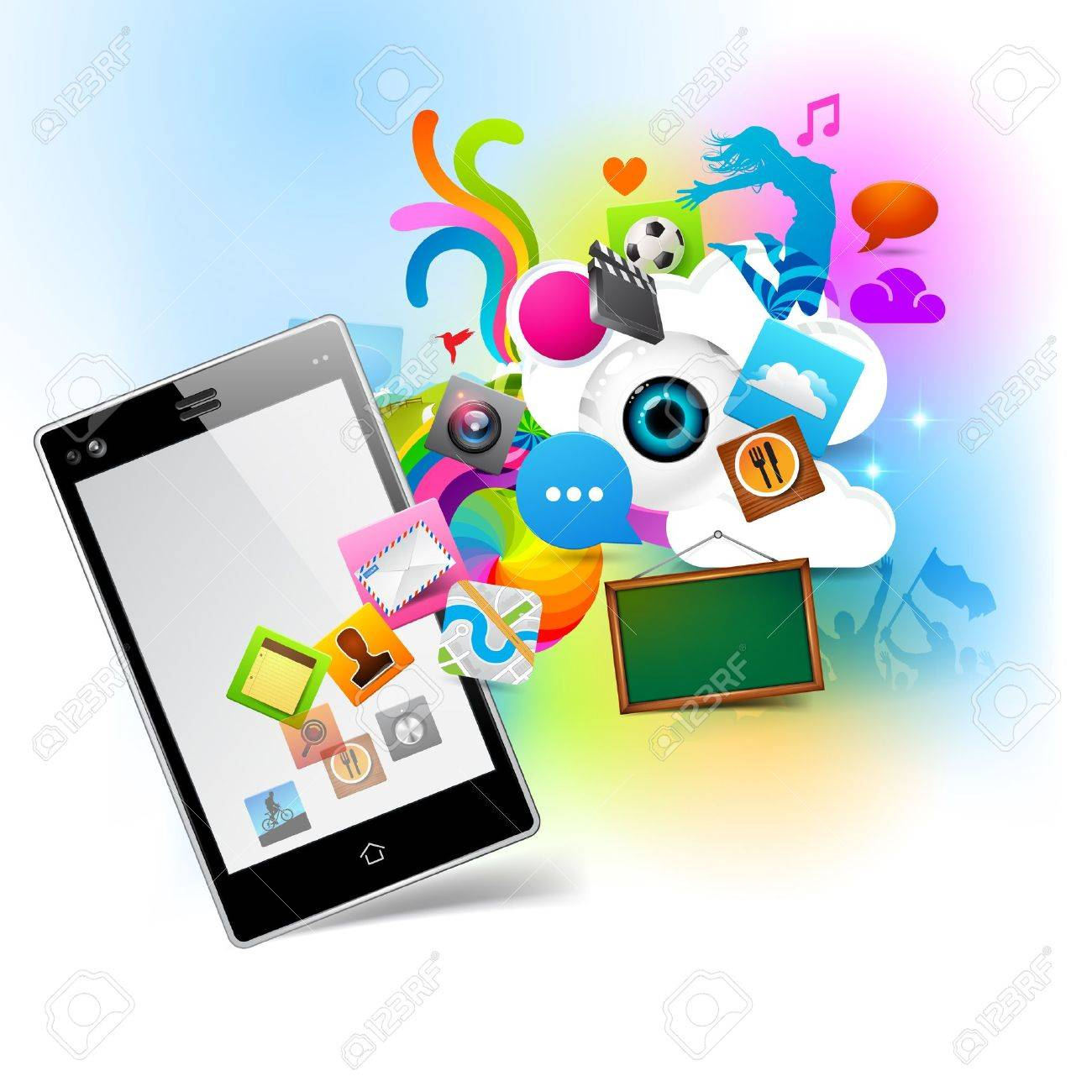Colourful Technology  - Smartphone coming to life Stock Vector - 14968619