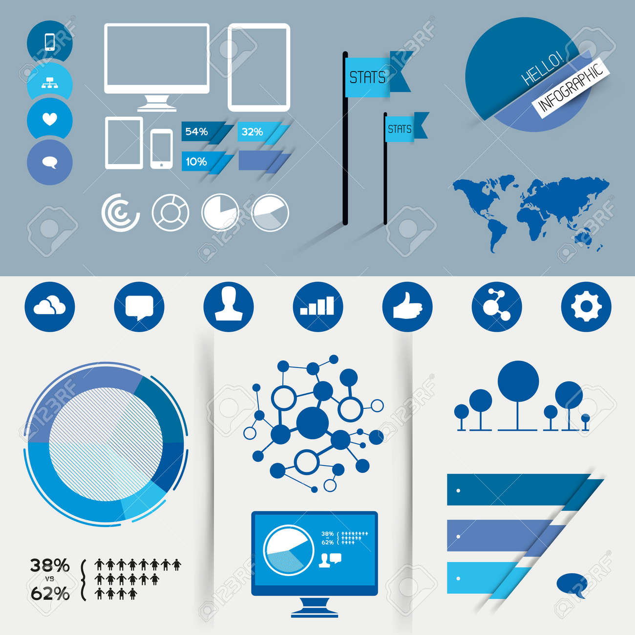A Collection Of Vector Infographic Design Elements. Royalty Free ...