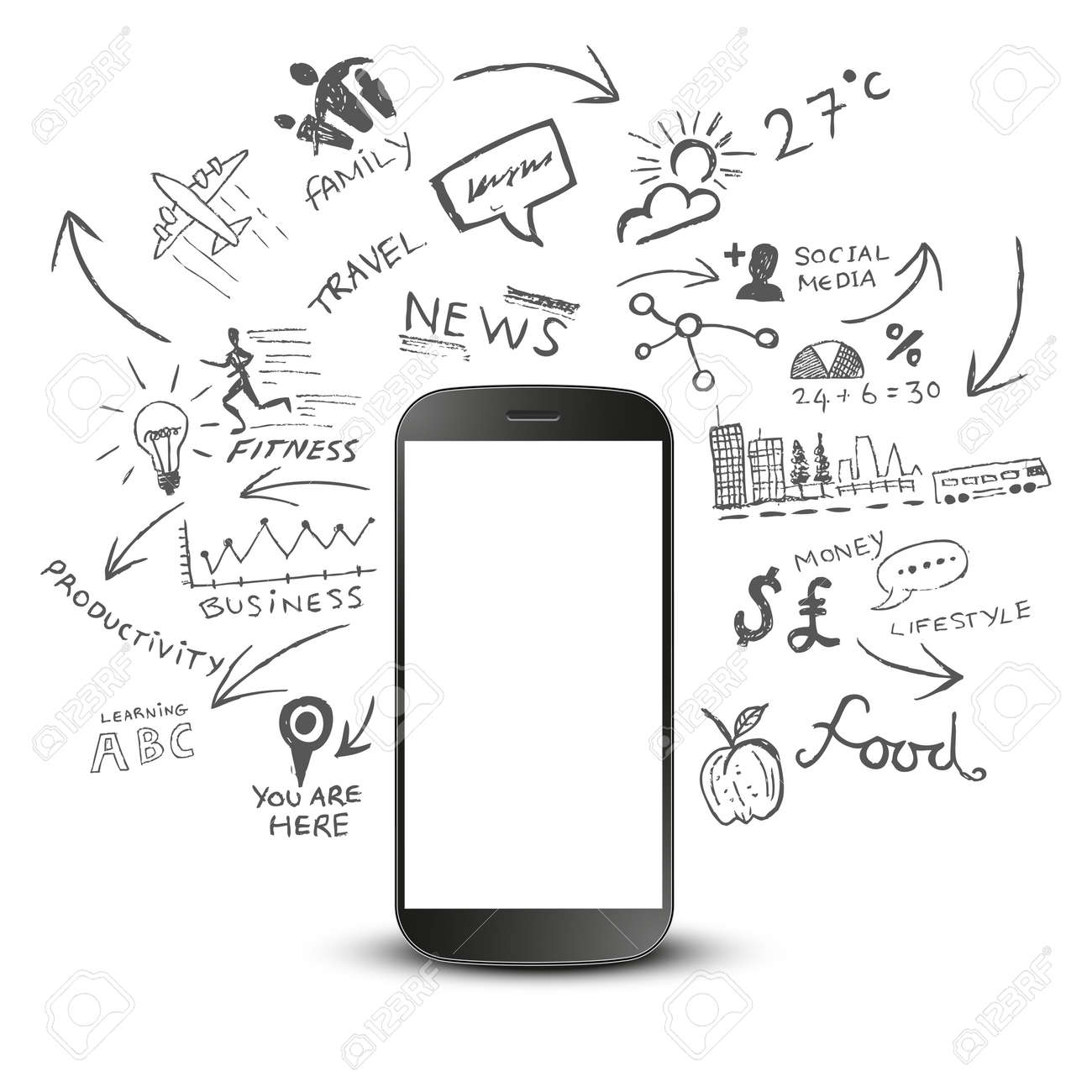 Mobile Productivity. Modern mobile device with communication doodles. Stock Vector - 23083550