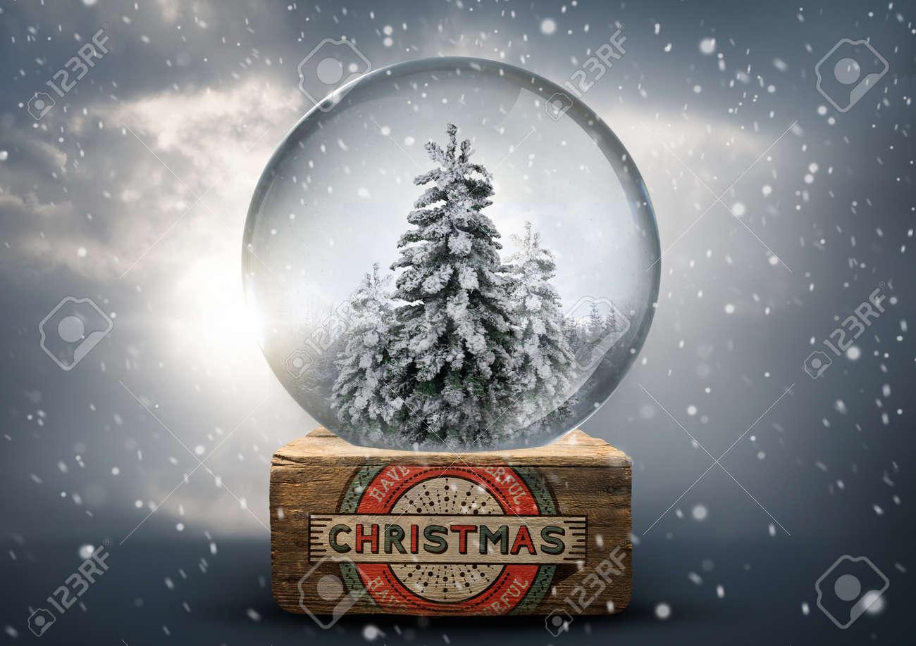Vintage Christmas Snow Globes.A Vintage Christmas Snow Globe With White Christmas Tree S