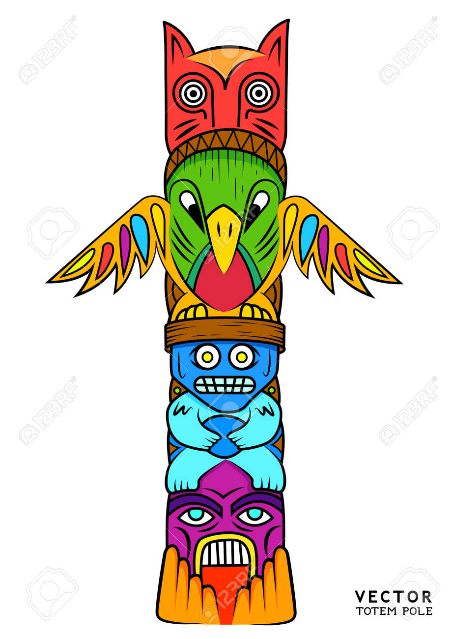 a bright and colourful totem pole royalty free cliparts vectors rh 123rf com totem pole clipart black and white totem pole clip art free