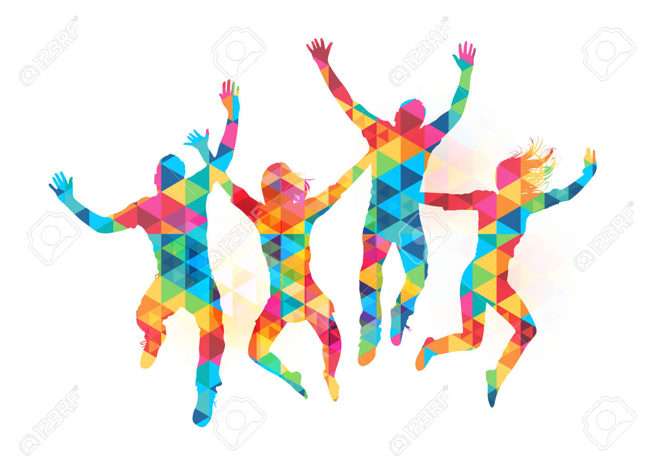 Young people jumping in celebration with abstract pattern. Vector illustration Stock Vector - 27767825